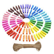 eBoot Mini Coloured Natural Wooden Clothespins Photo Paper Peg Pin Craft Clips with Jute Twine, 100 Pieces