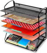 SimpleHouseware 6 Trays Desktop Document Letter Tray Organiser, Black