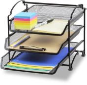 SimpleHouseware 3 Tier STACKABLE Desktop Document Letter Tray Organiser, Black
