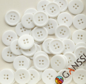 "GANSSIA 0.59"" (15mm) Sewing Flatback Buttons Coloured White Pack of 160 Pcs"