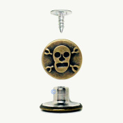 Skull Jean Buttons - No Sew - Antiqued Brass Metal - Easy Instal - Mymicco Item 10133