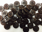 100 Brown Small Pea Coat Buttons - Nautical Ship Anchor Buttons -Tailored 4 Hole- 1.6cm ~ For , Blouses Dresses .