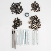 NW 4 Types Gunmetal Snap Button Set Press Studs Snap Fasteners Poppers Sewing Clothing Craft Snaps Button with Tool Total 160pcs