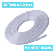 50 Yard x ½ Inch Rigilene Polyester Boning for Sewing – Sew-Through Low Density MaxPro Boning for Corsets, Nursing Caps, Bridal Gowns, and More