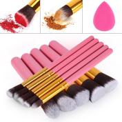 Make-up Brushes, Wooden Handle Kabuki Make-up Brush Set Foundation Eyeshadow Blush Concealer Powder Brush With Mini Beauty Sponge Blender + Gold (Black)
