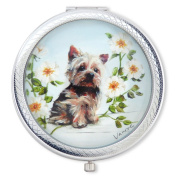 Vanroe 'Yorkshire Terrier' Designer Compact Mirror in Gift Box - For Dog Lovers, Yorkie, UK Artist, Magnified
