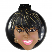 Pam Compact Mirror with Popup Brush African American Girl