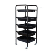 Salon Hairdresser 5-Tier Drawers Storage Trolley with Castors, Multifunctional Hairdressing Beauty Makeup Cart Colouring Spa Salon Cart 1 Top Tray + 4 Pull-Out Drawers-Christmas Gift Secret Santa