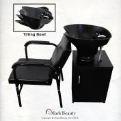 Floor Cabinet TILTING ABS Plastic Shampoo Black Bowl Salon Chair Lumbar Support TLC-B36-Tilt-FC-216A