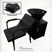 TILTING ABS Plastic Shampoo Black Bowl Floor Cabinet Salon Chair Lumbar Support TLC-B36-Tilt-FC-216