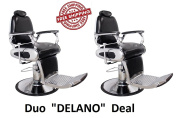 Barber Chair Stainless Steel Fixtures Beauty Salon Chair Black DELANO