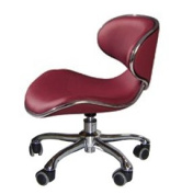 Burgundy Low Pump Technician Stool for Salon, Spa, and Medical