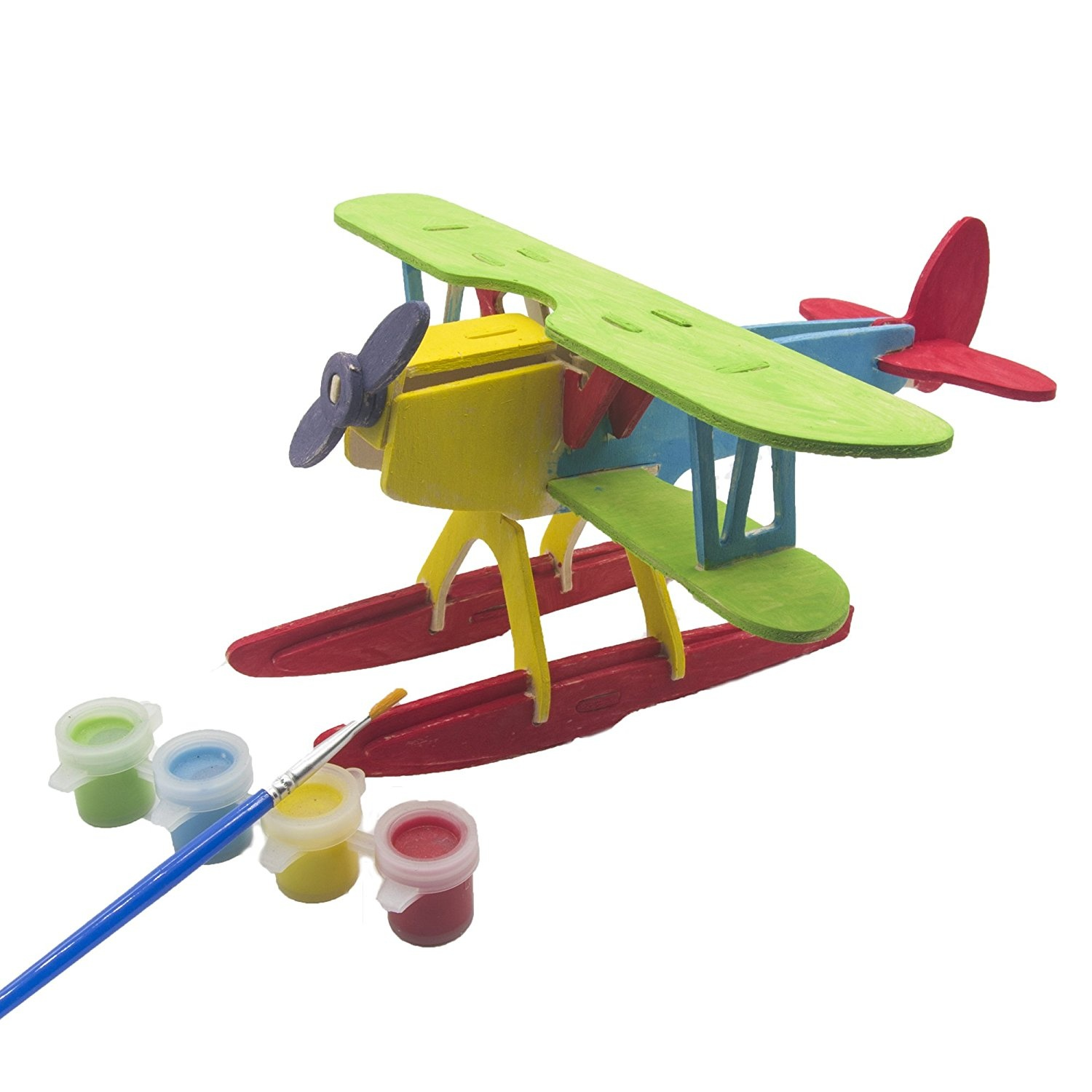 Miscy 3d Puzzle Wooden Plane Art Projects Craft Wood 3d Puzzles for Kids  Adults Wood Model Kits Aeroplanes Assemble Paint DIY Toy Hydropplane