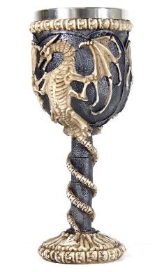Mediaeval Dragon Skeleton Ossuary Goblet Wine Chalice Resin Body Stainless Steel