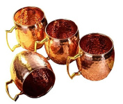 Zap Impex ® Pure Copper Hammered Moscow Mule Mug With Solid Brass Handle Set Of 4- 470ml
