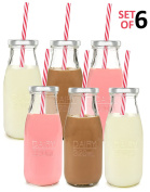 Estilo Dairy Reusable Glass Milk Bottles with Straws and Metal Screw on Lids (Set of 6), 310ml, Clear