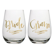 Slant Bride & Groom Stemless Wine Glasses- Set of 2
