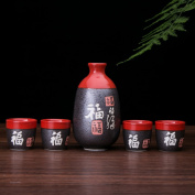 "Glazed Ceramic 5 Pcs Japanese Sake Set Chinese Calligraphy ""Fu"""