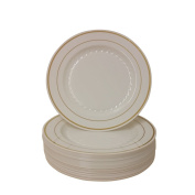 23cm Plastic Plates Trimmed With Gold. Pack Of 40 Elegant Disposable Dinnerware