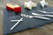 +Hot+ Gourmet 41cm x 30cm Slate Cheese Board Set w/ 3 Forged Stainless Steel Cheese Knives & Soap Stone Chalk Premium Slate Cheese Tray and Cheese Platter