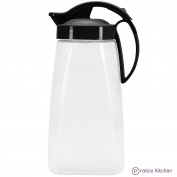 QuickPour Airtight Pitcher with Locking Spout Japanese Made - For Water, Coffee, Tea, & Other Beverages - 2.2ls - Black