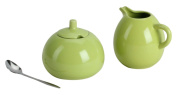 Omniware 1039051 Sugar & Creamer with A Stainless Steel Spoon Set, Citron