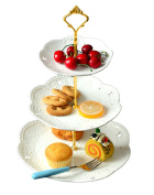 Jusalpha 3-tier Porcelain Cake Stand-cupcake Stand- Dessert Stand-tea Party Serving Platter (3RW Gold)-