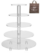 Jusalpha Large 5-Tier Acrylic Round Wedding Cake Stand/ Cupcake Stand Tower/ Dessert Stand/ Pastry Serving Platter/ Food Display Stand