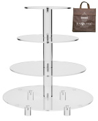 Jusalpha 4 Tier Acrylic Glass Round Cake Stand-cupcake Stand- Dessert Stand-tea Party Serving Platter for Wedding Party(4TR)