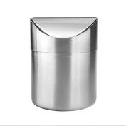 xhorizon TM SR Mini Round Step Trash Can, Mini Countertop Trash Can, Brushed Stainless Steel, Swing Top Trash Bin for Countertop Small Trash Can Kitchen Desktop Mini Wastebasket