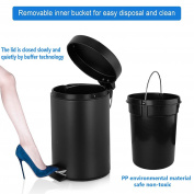Fortune Candy Small Round Carbon Steel Trash Can with Lid and Removable Inner Bucket for Kitchen Office Bathroom Bedroom,5L/ 4.9l