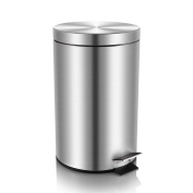 Malmo Stainless Steel Large Kitchen Trash Can with Lid and Inner Bucket, 30L/7.9Gal