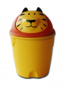 Moolecole Creative Cute Orange Tiger Plastic Trash Bin Waste Bin Table Office Desk Mini Dustbin Trash Can