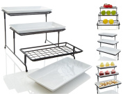 iEnjoyware 3 Tiered Porcelain Serving Platters with Mesh Wire Stand – Less Wobbly With Thicker Metal Rack, Mesh 3 Tier Metal Stand Can Be Used to Serve Cupcakes, Fruits, Veggies, Produces and More