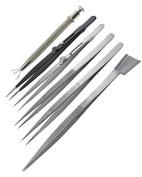 ToolUSA 6 Piece Diamond Handling Tweezer Set With Small Shovel And 4-prong Pick Up Tool