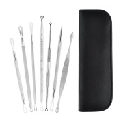 Blackhead Extractor Tool, Peleustech 7Pcs Face Care Stainless Steel Blackhead Whitehead Comedone Acne Pimple Blemish Needle Extractor Remover Professional Tool with Zipper Leather Case