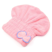 Women Ladies Girls Bowknot Style Coral Fleece Elastic Band Soft Water Absorbent Shower Hair Drying Cap Hat Pink