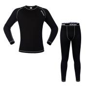 WOASAWE Men's Thermal Fleece Base Layer Sports Fitness Workout Shirt Pants
