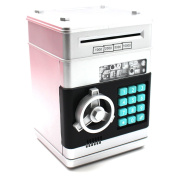 Silver Mini Password Piggy Bank Toy Cash Coins Money Safe Box Lock With Sound Battery Powered