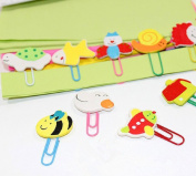 Funnylive® Colourful Animal Wooden Cute Paper Clips Bookmark Creative Supplies For Office School Home,12 Per Pack,Pack of 5