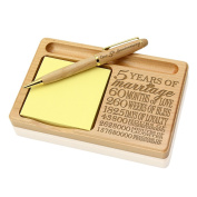 Kate Posh - Our 5th Anniversary Wooden Notepad & Pen Holder