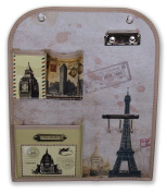 World Travel Theme Wall Hanging Organiser with Key Holders, Clip Board, and Pockets 30cm x 37cm