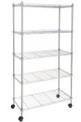 Homdox Wire Shelving 5-Shelf Metal Shelf Unit with Wheels for Kitchen Bedroom Garage Anywhere You Want,Silver