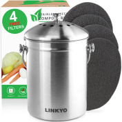 LINKYO Compost Bin - 4 Filters Stainless Steel Kitchen Composter