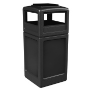 Commercial Zone Square Waste Container with Ashtray Lid, Polyethylene, 159l Black