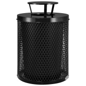 Thermoplastic Coated Mesh Receptacle w/Rain Bonnet Lid, 121.1l, Black