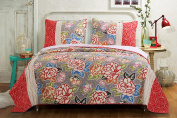 Barefoot Bungalow GL-1609AMST 2 Piece Gypsy Rose Quilt Set, Twin