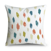 FabricMCC Paint Colours Throw Pillow Cover Abstract Geometric Cotton Canvas Cushion Cover Indoor Outdoor, 46cm x 46cm