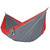 Neolite Trek Camping Hammock - Lightweight Portable Nylon Parachute Hammock for Backpacking, Travel, Beach, Yard. Hammock Straps & Steel Carabiners Included