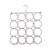 16 Holes Slots Belt Tie Hook Organiser Holder Fashion Rattan Weave Shawl Scarf Neat Hangers Random Colour